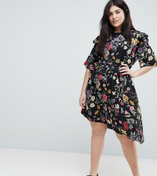 Influence Plus Floral Asymmetric Midi Dress With Studded Belt - Multi