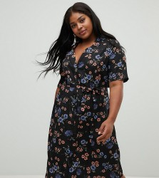 Influence Plus floral button down midi shirt dress - Black