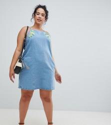 Influence Plus Floral Embroidered Denim Shift Dress - Blue