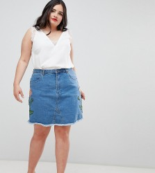 Influence Plus Floral Embroidered Denim Skirt - Blue