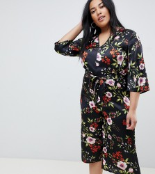Influence Plus floral satin print jumpsuit with tie waist - Black