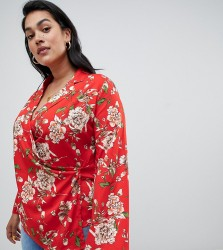 Influence Plus floral wrap blouse - Red