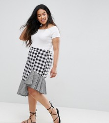 Influence Plus Gingham Mix And Match Asymmetric Midi Skirt - Multi