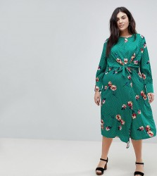 Influence Plus Knot Asymmetric Wrap Front Floral Midi Dress - Green