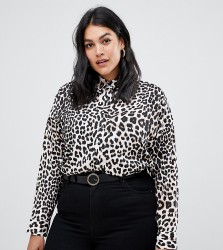 Influence Plus leopard print button down shirt - Brown
