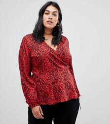 Influence Plus leopard print wrap blouse - Red