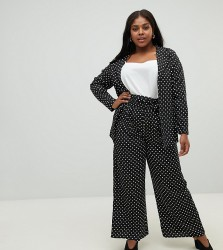 Influence Plus polka dot wide leg trousers - Black
