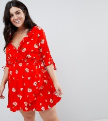 Influence Plus Ruffle Front Floral Wrap Dress - Red