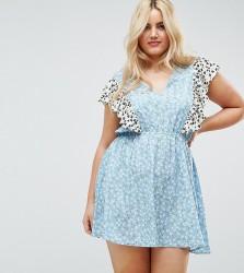 Influence Plus Ruffle Mix And Match Print Dress - Multi