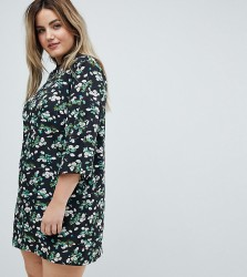 Influence Plus Shift Dress With Mandarin Collar Detail In Daisy Garden Floral - Black