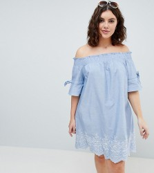 Influence Plus Shirred Sleeve Bardot Dress With Embroiderry Detail - Blue