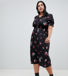 Influence Plus shirred sleeve floral midi dress with button down front - Black