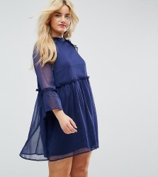 Influence Plus Smock Dress With Flare Sleeve - Navy
