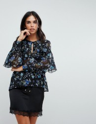 Influence Ruffle Front Floral Blouson Sleeve Top - Black