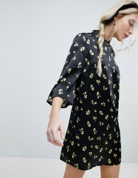 Influence Shift Dress With Mandarin Collar Detail In Satin Buttercup Floral - Black