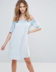 Influence Shirred Bardot Dress - Blue