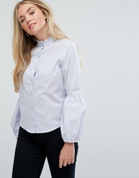 Influence Shirt With Blouson Sleeves - Blue