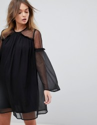 Influence Spot Dobby Mesh Insert Chiffon Dress - Black