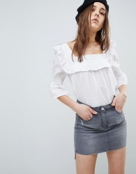 Influence Square Neck Broderie Top - White