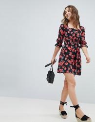 Influence Square Neck Floral Skater Dress - Multi
