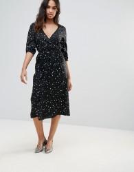 Influence Star Print Wrap Midi Dress - Black
