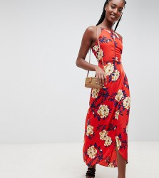 Influence Tall Floral Cami maxi Dress - Red