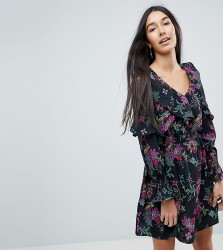 Influence Tall Floral Print Dress With Ruffle Details - Multi