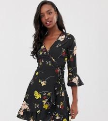 Influence Tall floral wrap mini dress - Black