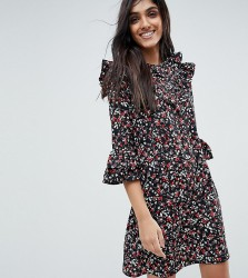 Influence Tall Frill Sleeve Floral Shift Dress - Multi