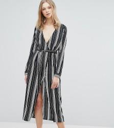Influence Tall Midi Dress In Stripe - Black