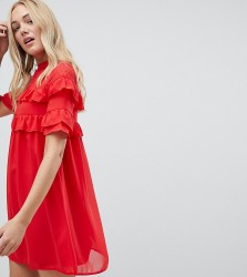 Influence Tall Shift Dress With Frills - Red