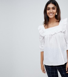 Influence Tall Square Neck Broderie Top - White