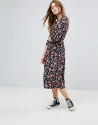 Influence Three Quarter Sleeve Floral Midi Dress - Multi