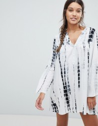 Influence Tie Dye Beach Dress With Long Sleeves - Cream