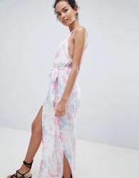 Influence Tie Dye Side Split Beach Dress - Multi