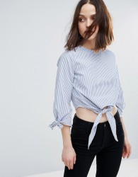 Influence Tie Front And Sleeve Cotton Top - Blue