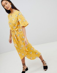 Influence Tie Front Midi Dress In Floral Print - Yellow