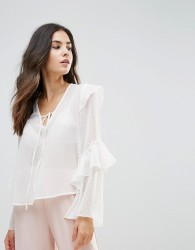 Influence Tie Neck Top With Ruffle Sleeves - White