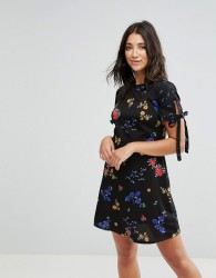 Influence Tie Sleeve Floral Dress - Black