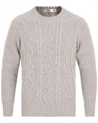 Inis Meáin Aran Knitted Crew Neck Sweater Light Grey