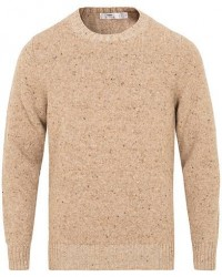Inis Meáin Merino/Cashmere Crew Neck Donegal Sweater Beige