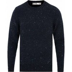 Inis Meáin Merino/Cashmere Crew Neck Donegal Sweater Navy