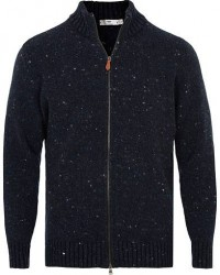 Inis Meáin Merino/Cashmere Full Zip Donegal Sweater Navy