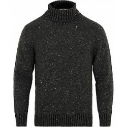 Inis Meáin Merino/Cashmere Turtleneck Donegal Sweater Charcoal