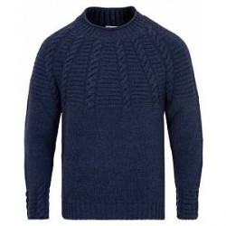Inis Meáin Raglan Cable Mock Turtle Sweater Warm Blue
