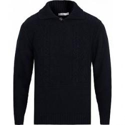 Inis Meáin Sean Óg Merino Wool High Collar Sweater Dark Navy