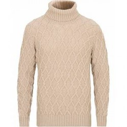 Inis Meáin Trellis Turtleneck Wool Sweater Light Sand