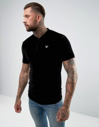 Intense Muscle T-Shirt In Black Velour With Half Zip - Black