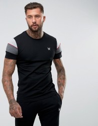 Intense Muscle T-Shirt In Black With Contrast Panels - Black