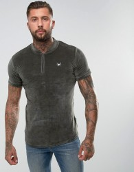 Intense Muscle T-Shirt In Khaki Velour With Half Zip - Green